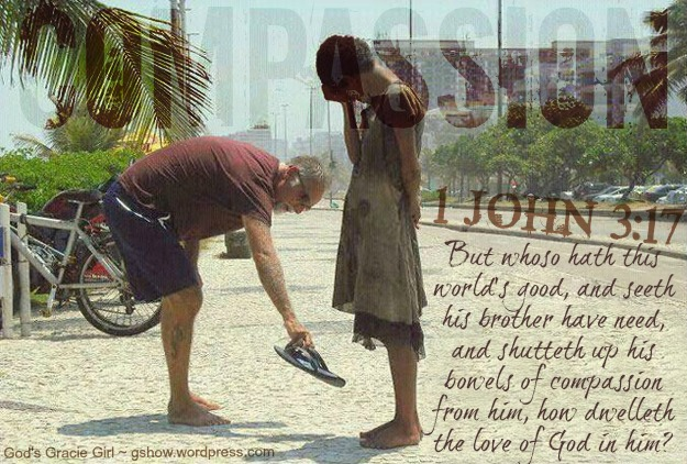 COMPASSIONATE - KIND, CARING MAN GIVING HIS SHOES TO A HOMELESS GIRL IN RIO de JANIERO